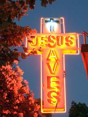 JESUS AVES (Dave van Hulsteyn) Tags: sign religious neon glow nightshot mission sacramento jesussaves gospel moderatelylongexposuretwoorfoursecondsithink