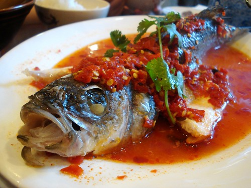 A whole steamed seabass lying on a white platter in a pool of reddish-orangeish liquid.  Coarsely-chopped lightly fermented red chillies are scattered generously on top of the fish, and the whole thing is topped off with a single sprig of fresh green coriander.