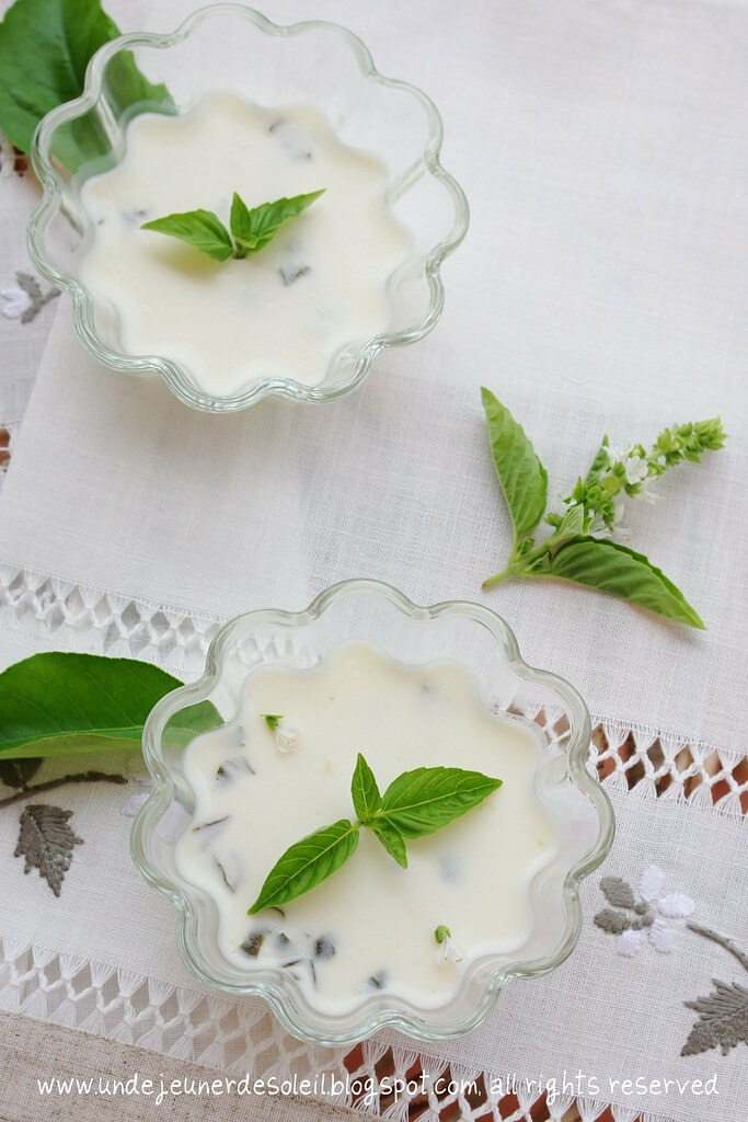 Lemon posset with basil