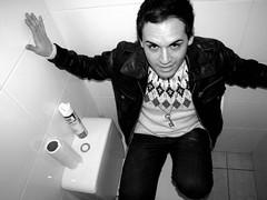 Just look at me honey (►カサンドラ) Tags: chile people blackandwhite face bathroom crazy antofagasta canonpowerhot