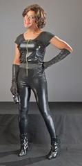 Black Catsuit & Boots (kaceycd) Tags: shiny boots tgirl gloves transvestite tight satin bodysuit crossdress spandex lycra catsuit tg leotard kinkyboots unitard operagloves ankleboots
