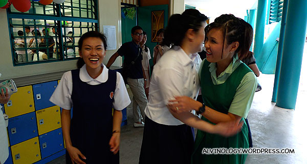 Rachel and her friends, behaving like they are still school students
