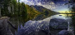 Dawn at Jenny Lake (bern.harrison) Tags: panorama mountain reflection nature water landscape scenic grandteton hdr photocontesttnc10 mountmoranjennylake grandtetopnnationalpark