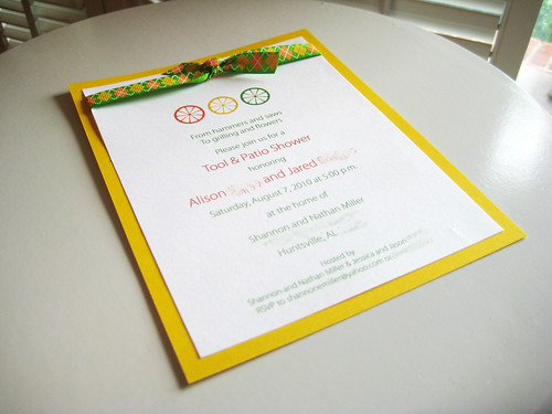invitations for a citrus-themed tool & patio shower