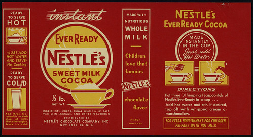 Nestle's - EverReady Sweet Milk Cocoa box package label proof - 1930's-1950's by JasonLiebig