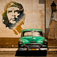 exit havana exit cuba (flamed) Tags: park travel green classic texture lamp car vintage graffiti rust automobile peeling parking country havana cuba retro chevy 1950s revolution parked che cheguevara murial travelphotography memoriesoftherevolution