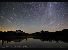 Stellar Whirlpool... Reflected! (pdxsafariguy) Tags: sky mountain lake reflection night oregon star trails cascades sparks brokentop southsister deschutesnationalforest tomschwabel