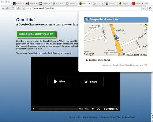 Geo This! A chrome plugin to turn any web site (or highlighted text) into a map