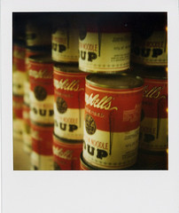 I really want some soup. (EXPLORED #253) (Noah Bolanowski) Tags: old red white chicken film vintage polaroid sx70 paul soup antique 600 noodle campbells theimpossibleproject giambarbra