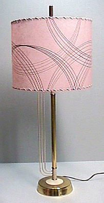 pink drum shade on vintage lamp base