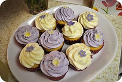 Cupcakes for my Great Gma's 97th Birthday (kmiller799) Tags: flowers cupcakes purple lavender vanilla frosting gumpaste shimmerdust