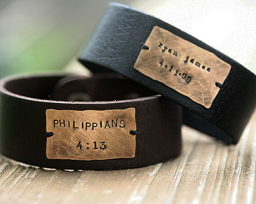 handstamped leather cuff