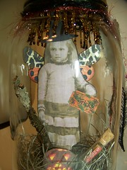 Altered Vintage Halloween Fairy in a Jar (QueenBe1) Tags: halloween collage altered vintage witch mixedmedia tag fairy workshop jar faerie canning heavenlyscentherbfarm cocllage