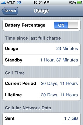 In iPhone (firmware 3.1.2) turn Battery Percentage ON