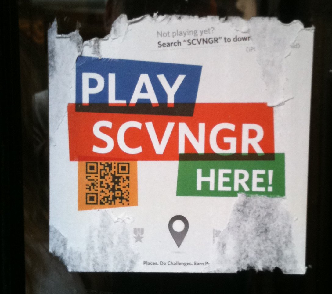 SCVNGR sign at Dotties True Blue in San Francisco
