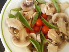 eat fresh (imblagginit) Tags: mushrooms healthy yum fresh basil homegrown cherrytomato