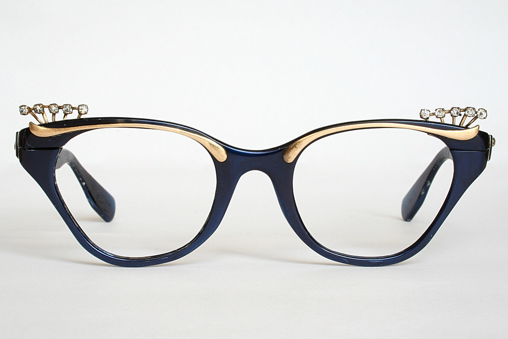 0eeffab33e5 Royal Blue and Gold Cat Eye Glasses Frames with Rhinestones by Tura (Vintage  Cat Eye