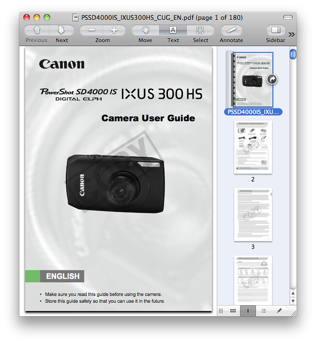 Canon SD4000 IS / IXUS 300 HS Manual