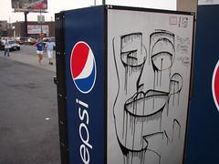 Pepsi Face (Barrybu) Tags: street chicago art face machine pepsi vending wrigleyville