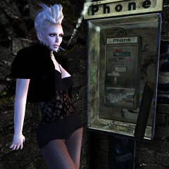 Hanging By The Telephone (Janice Jupiter) Tags: fashion digital photoshop blog 3d clothing avatar linden style clothes sl secondlife virtual blogging dominion tko bolero cs5 janicejupiter jupiterville jupitervillestylecom