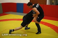 Practicing a double leg