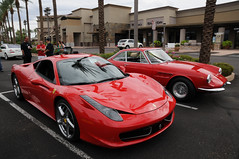 Ferrari 458 Italia with a Ferrari 330 (O'Connor Photo) Tags: show street new old red arizona orange black slr ford car race silver emblem photography mercedes insane amazing nikon italia nissan interior awesome stock fast ferrari exotic mclaren porsche seats badge apollo lamborghini rs loud gt2 murcielago gt3 aftermarket gt500 gt350 458 gumpert moconnor d300s