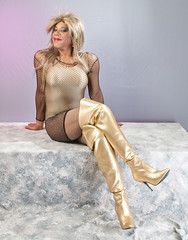 Mesh Mini Dress, Gold Leotard & Gold Thigh High Boots (kaceycd) Tags: boots fishnet tgirl transvestite tight pantyhose crossdress spandex lycra tg kinkyboots thighboots minidress sexyboots