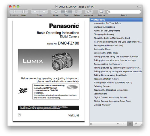 Panasonic FZ100 Manual -- Basic Operating Instructions