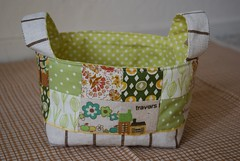 fabric basket (coco stitch) Tags: green patchwork fabricbasket
