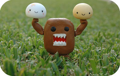 But he's strong.... (itslour) Tags: cute grass toy japanese rubber kawaii strong onsen domokun nhk manju onsenmanjukun