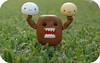 But he's strong.... (itslour) Tags: cute grass toy japanese rubber kawaii strong onsen domokun nhk manju onsenmanjukun