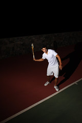Tennis player (Gerardography) Tags: night contrast court flash tennis tenis match juego cancha partido onelight strobist