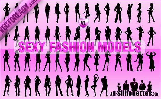 Click en la imagen para descarga 56 Siluetas en formato vector - chicas sexys y fashions