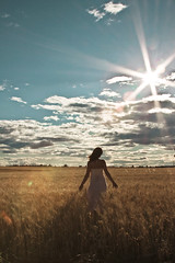 summer suns kisses (enjoythelittlethings) Tags: summer sky girl field yellow self star back mt dress wheat horizon flare 365 tones billings sunflare wheatfield billingsmt