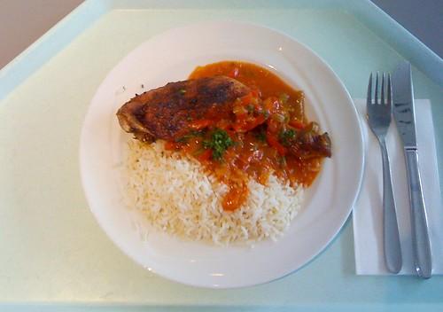 Paprika-Huhn mit Reis