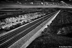 1256 / 2010 (ikaune) Tags: blackandwhite bw landscape noiretblanc eurostar rail nb paysage numérique tgv lignes voieferrée mywinners sainttricat ikaune