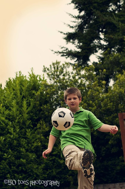 Buddy kicking soccer ball non round 8-3-10