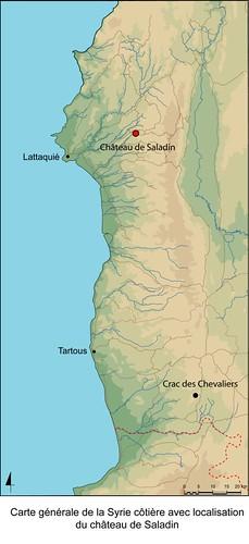 Carte de la Syrie côtière avec localisation du Château de Saladin