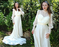 Vintage 1970s Ivory Organza & Lace Victorian Train Wedding Gown 1 (mondas66) Tags: ruffles dress lace victorian ivory dresses gown elegant weddingdress 1970s gowns ornate lacy weddinggowns organza sheer frilly ruffle weddinggown weddingdresses frills frill ruffled lacework frilled frilling frillings befrilled