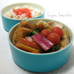 Rainbow Chard Bento (hapa bento) Tags: chicken tomato rice box bento fishcake bentobox bentolunchbox benishoga bentoboxlunch hapabento colorfulchard