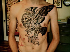 3rd Session (kydd_chris) Tags: fish tattoo ink wing owl chestpiece