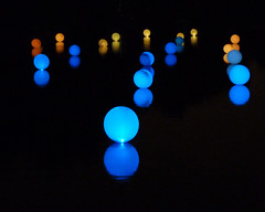 "A ""Light Matrix"" of Spheres (njchow82) Tags: blue light orange reflection calgary glow lagoon alberta publicart orbs spheres princeisland nightimage riveroflight beautifulexpression spheresoflight creatmosphere njchow82 dmcfz35 lightmatrix celebrationofthebowriver riveroflightcreatmosphere artistlaurentlouyer measures2ftindiameter onephotoweeklycontestweek43"