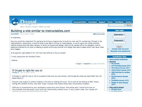 Drupal support forum