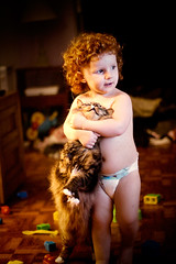"""I want to hug you and squeeze you into itty-bitty pieces!"" (cavale) Tags: two portrait pet baby scarlett silly cute love cat ginger dance kid hug toddler child kitty fluffy calm redhead whiskers belly tango cuddle blocks chubby bellybutton curlyhair megablocks 2yearsold nakedbaby ahimsa portraitset chokehold"