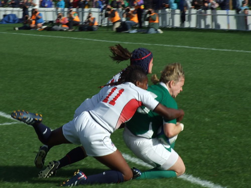 Tackle on the try line (Ireland scored)