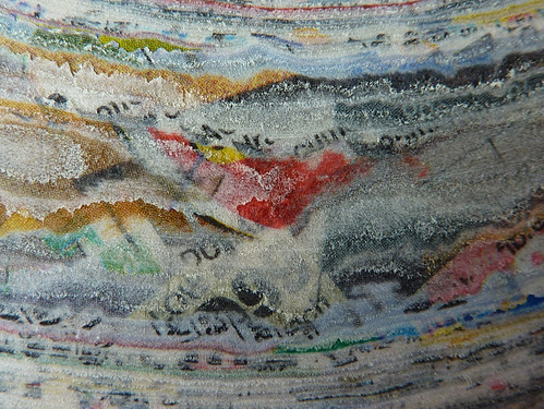 close up of compressed discarded paper