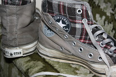Double converse (yorkshirepuddin) Tags: carpet grey shoes sneakers trainers step converse laces tartan converseallstars