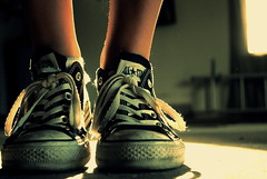 Explored!   (Front page!) (kelley_leigh) Tags: light shadow shoes garage tie converse chuck laces