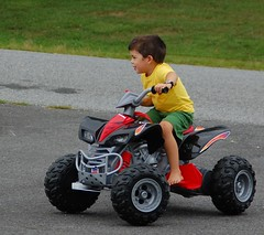pca119 - Joy (Joyce-445) Tags: red green yellow mason wheels motorbike grandson pca119 pca119assignmentjoy