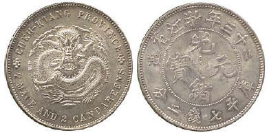 1897 Chekiang Province Year 23 Silver Pattern Dollar